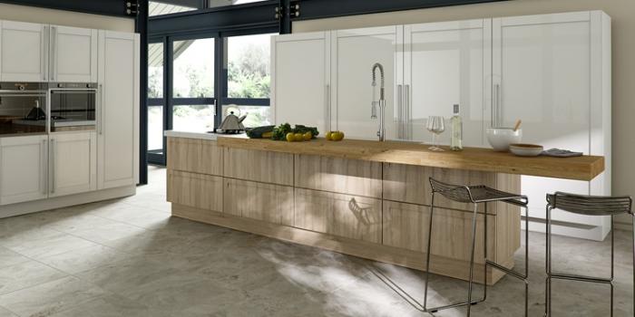 Krypton Gloss White & Elle Natural Sonoma Kitchen