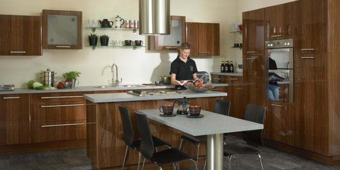 Mona Gloss Walnut Kitchen