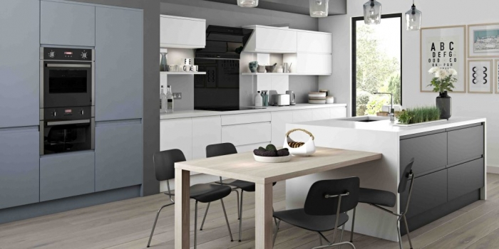 Arena Kitchen – Denim, White and Graphite