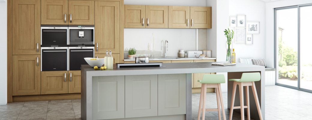 Clonmel Kitchen – Oak Light Oak & Stone