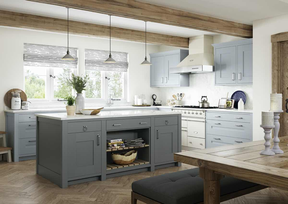 Clonmel Pantry Blue and Gun Metal Grey Kitchen