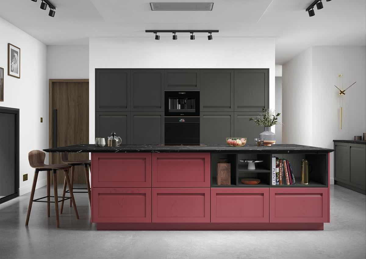 Harborne Graphite and Chicory Red Kitchen
