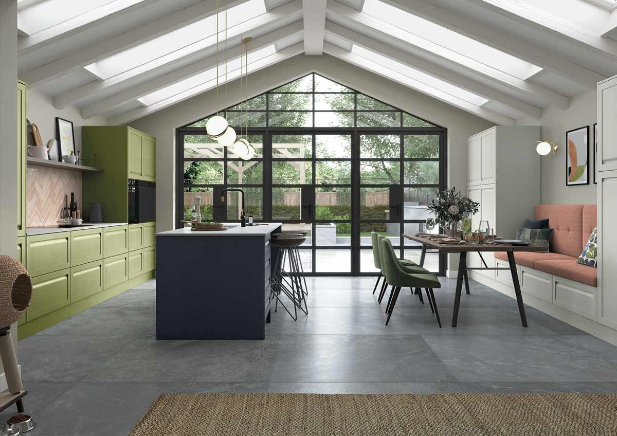 Harborne Slate Blue, Stone and Citrus Green Kitchen