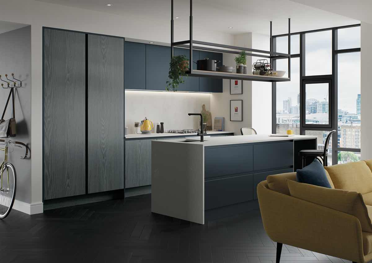 Kelso Stained Pacific Blue and Zola Matte Marine Kitchen