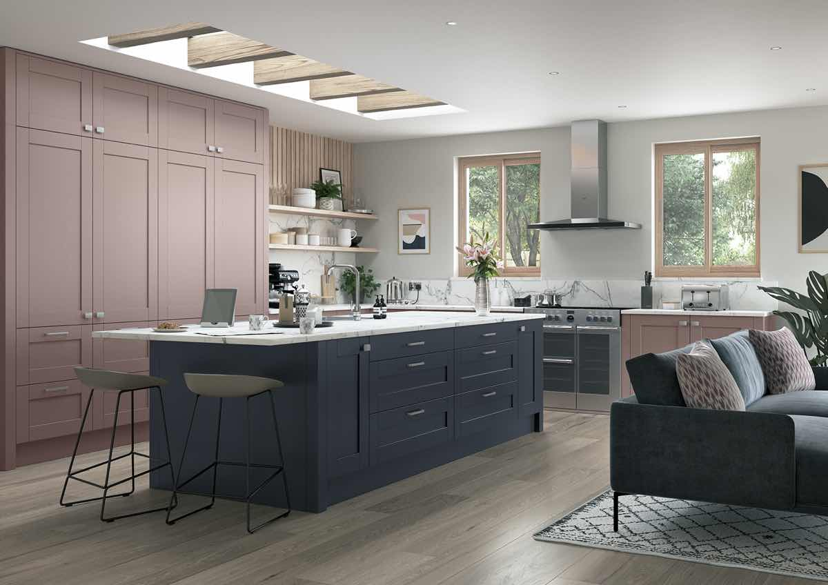 Madison Vintage Pink and Slate Blue Kitchen