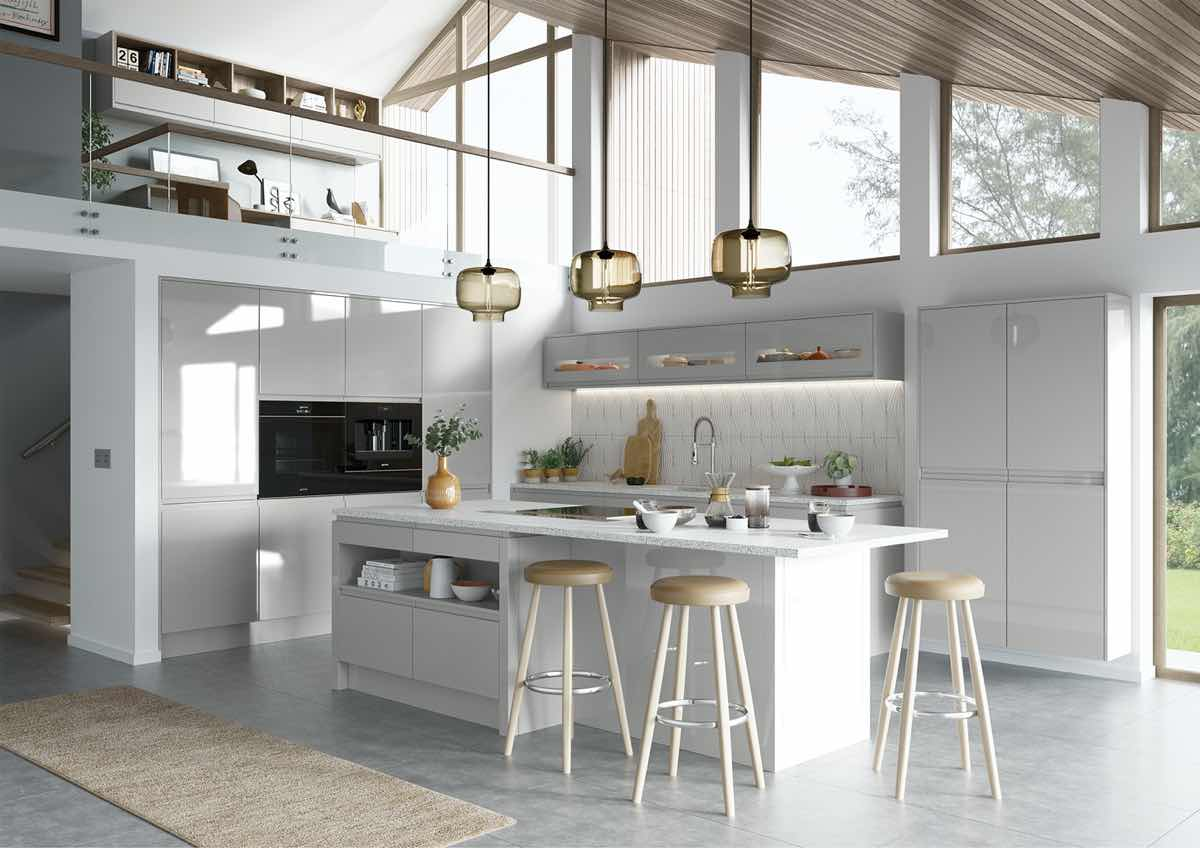Strada Gloss Light Grey Kitchen