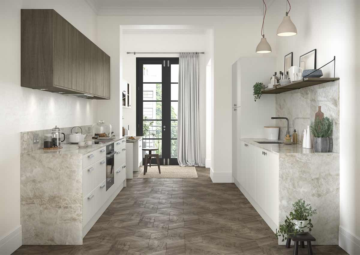 Zola Soft-Matte Porcelain and Rezana stained Weathered Silver Kitchen