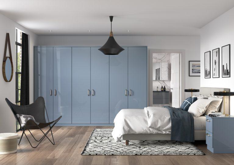 Modena S1 Gloss Denim Bedroom