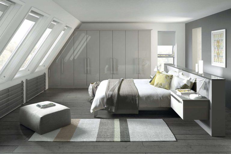 Edged Phoenix S1 Gloss Light Grey Bedroom