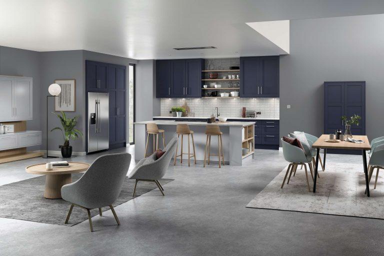 5 Piece Loxley Serica Marine Blue & Light Grey Kitchen