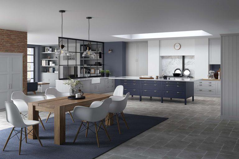 5 Piece Loxley Serica Light Grey & Marine Blue Kitchen